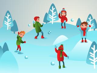 Winter illustration. Children play snowballs. Winter children's games. Boys and girls.