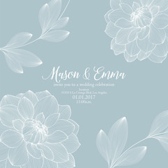 Stylish wedding invitation. Congratulations on your birthday, invitation card. Flower pattern with dahlias.
