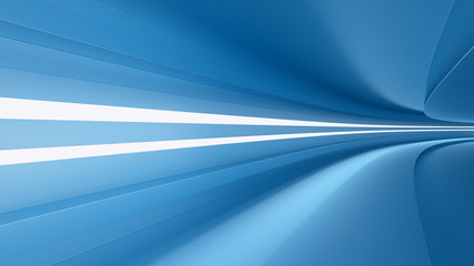 empty highway with spotlights color blue, dynamism and speed, 3d render,
