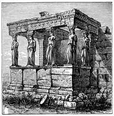 Wall Mural - victorian engraving of the Erechtheum, Athens