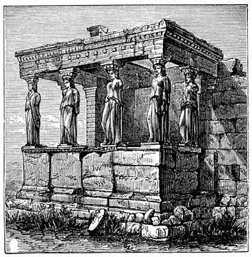 victorian engraving of the Erechtheum, Athens