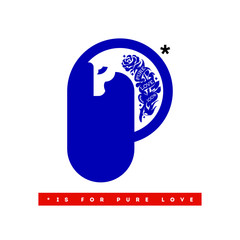 Horse with tattoo on a neck. Modern illustration with inspirational p is for pure love text
