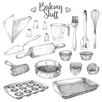 Set of dishes for baking. Baking stuff Vector illustration in sketch style.