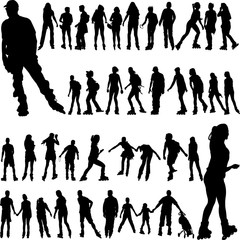 roller skates big collection silhouettes - vector