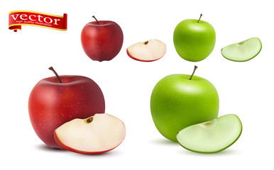 Highly realistic vector ripe juicy red and green apples with slices, natural texture.  Wall mural