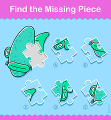 Kids cartoon fish Find The Correct Piece Puzzle