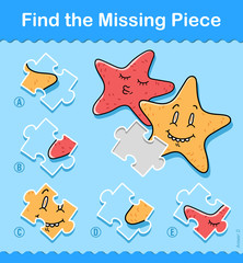 Find the missing piece puzzle game with starfish