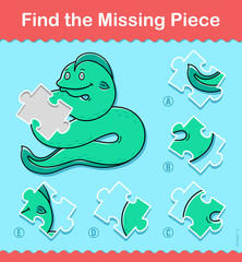 Kids jigsaw puzzle game of a sea snake or eel