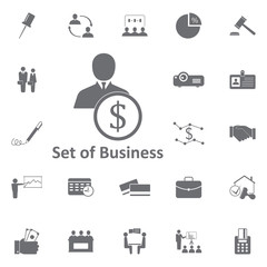 businessman with a dollar sign icon. Simple element illustration. Business icons universal for web and mobile