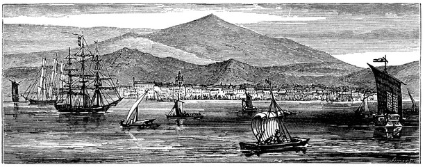 victorian engraving of Batavia, Dutch East Indies (Jakarta, Indonesia)