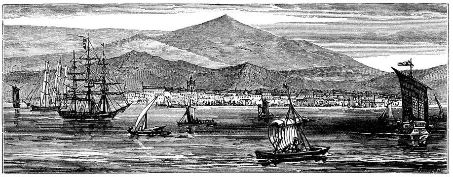 victorian engraving of Batavia, Dutch East Indies (Jakarta, Indonesia)