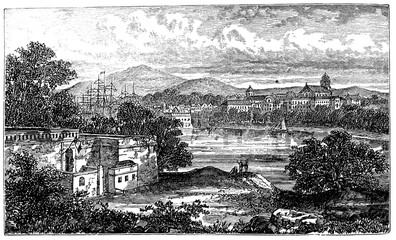 victorian engraving of Bayonne, France