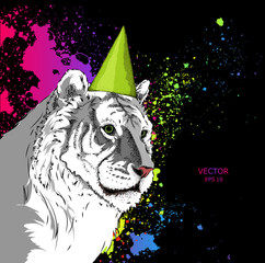 Hipster TIGER in Happy Birthday's cap. Vector illustration