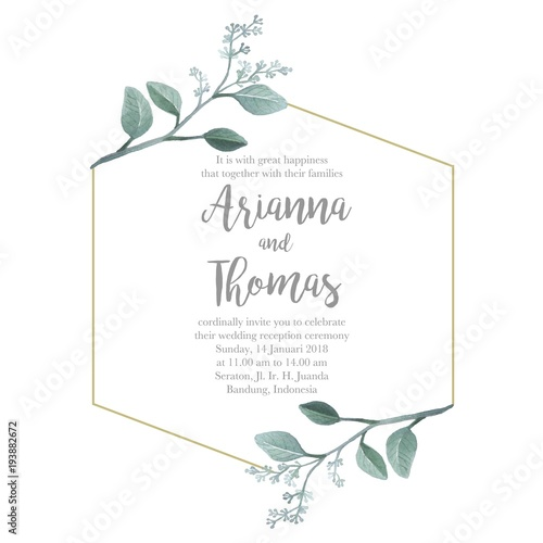 Seeded eucalyptus rhombus frame for greenery wedding invitation seeded eucalyptus rhombus frame for greenery wedding invitation decoration junglespirit Image collections