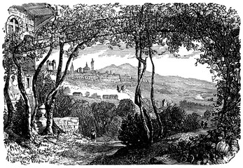 Wall Mural - victorian engraving of Bergamo, Italy