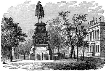 Wall Mural - victorian engraving of the statue of Frederick the Great, Berlin