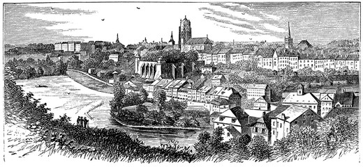 Fototapete - victorian engraving of a view of Bern, Switzerland