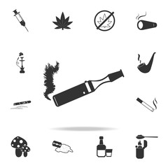 E-cigarette icon. Set of Human weakness and Addiction element icon. Premium quality graphic design. Signs, outline symbols collection icon for websites, web design, mobile app