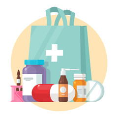 Medical supplies, bottles liquids, and pills vector cartoon illustration. Pharmacy purchases. Drugstore Concept. Health care objects. Eps 10