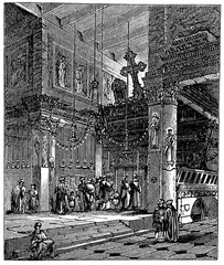 Fototapete - victorian engraving of the Church of the Nativity, Bethlehem