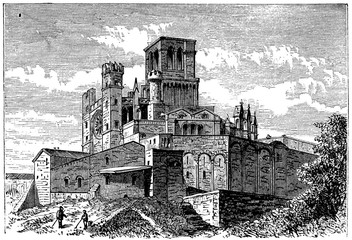 Wall Mural - victorian engraving of the Cathedral of St. Nazaire, Beziers, France