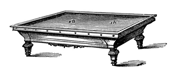 victorian engraving of a carom table