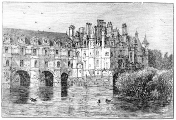 Wall Mural - victorian engraving of Chateau de Chenonceaux, France