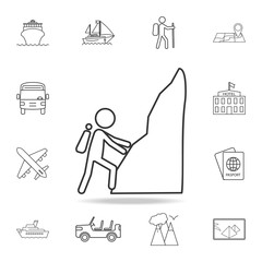 climb the mountain line Icon. Set of Tourism and Leisure icons. Signs, outline furniture collection, simple thin line icons for websites, web design, mobile app, info graphics