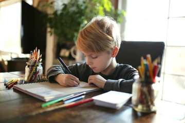 Young School Aged Child Working on Coloring Art Project