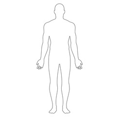 Anatomical Position Anterior View Male Body Vector Outline