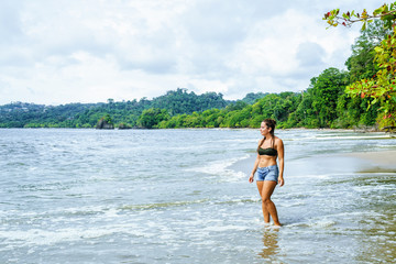 Woman on the beach of Manuel Antonio, Costa Rica.
