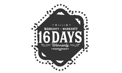 16 days warranty icon vintage rubber stamp guarantee
