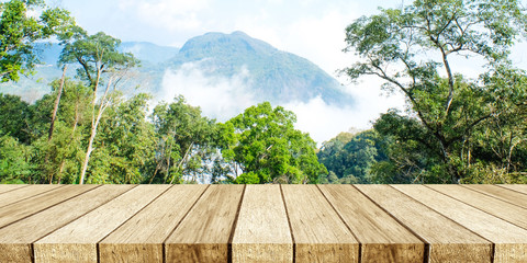 Empty table, perspective wood over nature landscape with bokeh background, product display montage background, banner