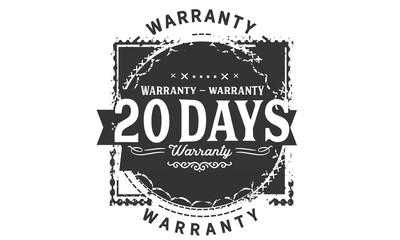 20 days warranty icon vintage rubber stamp guarantee