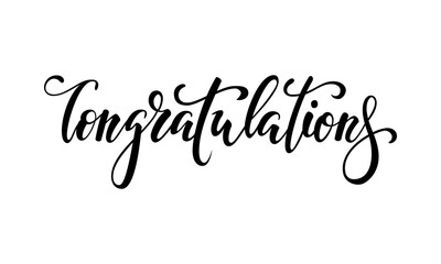 Congratulations. Hand drawn creative calligraphy, brush pen lettering. design greeting card and invitation of the wedding, birthday, Valentine s Day, mother s day, anniversary, holiday housewarming.