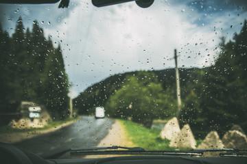 rainy day on the mountains window car