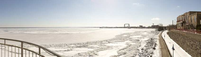 Panorama of frozen Lake Superior in Duluth, Minnesota