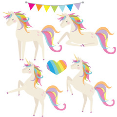 Unicorn vector cartoon illustration