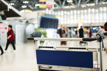 Close-up luggage cart at Suvarnabhumi airport