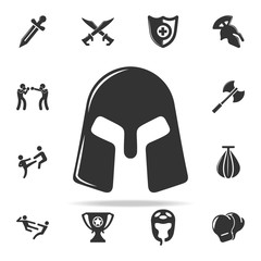 warrior's helmet icon. Set of Cfight and sparring element icons. Premium quality graphic design. Signs and symbols collection icon for websites, web design, mobile app