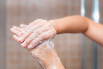 Close up of washing hands, cleaning hands