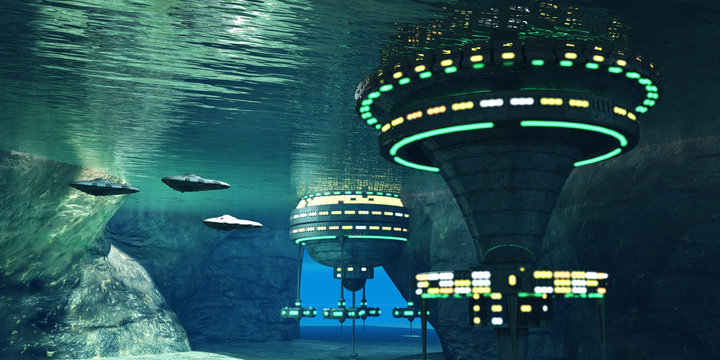 Underwater Alien Cave - Several spaceships leave an underwater alien city hidden in a coastal cave system here on Earth.