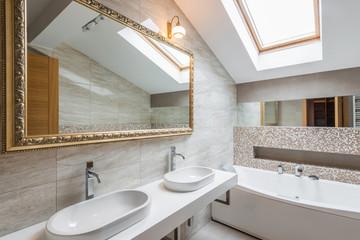 Interior of a luxury bathroom in loft apartment
