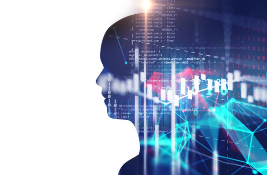 double exposure image of financial graph and virtual human 3dillustration