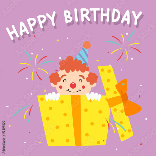 Birthday Clown Popping Out From A Gift Box Happy Card Template Cartoon Vector