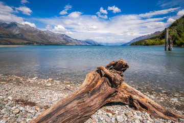 Low angle View from the rocky Dart river bank at Kinloch, NZ
