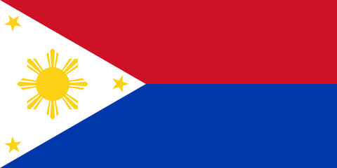 Flag of Republic of Philippines in wartime, vector.
