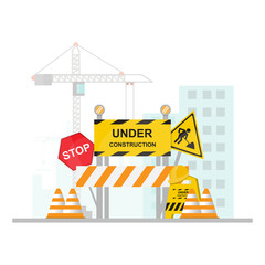 Under Construction Concept with stop, safety and traffic sign on flat design