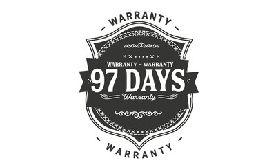 97 days warranty icon vintage rubber stamp guarantee