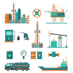 Set of oil industry extraction production and transportation oil and petrol, rig and barrels on flat cartoon icons